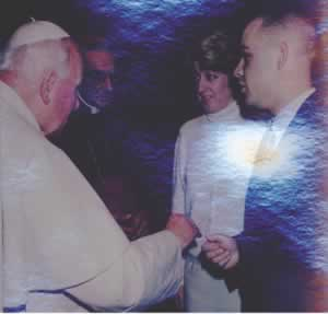 Pope John Paul II with the Johnsons